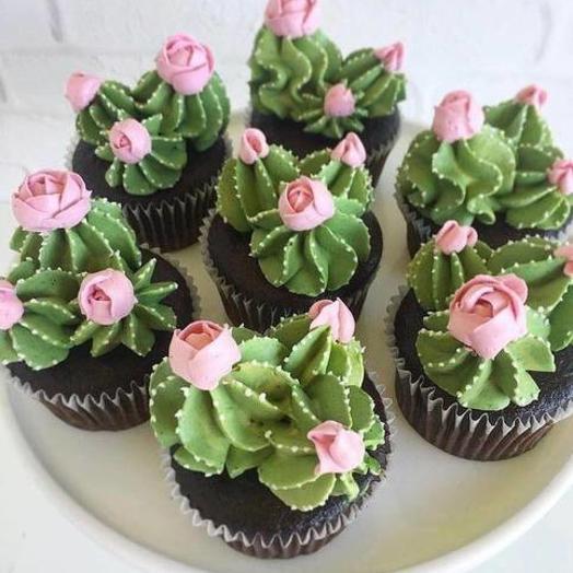 Кап-кейк цветочный кактус 6шт