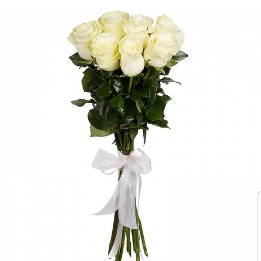 """7 белых роз """"Мондиаль"""" 70 см. на ленте"""