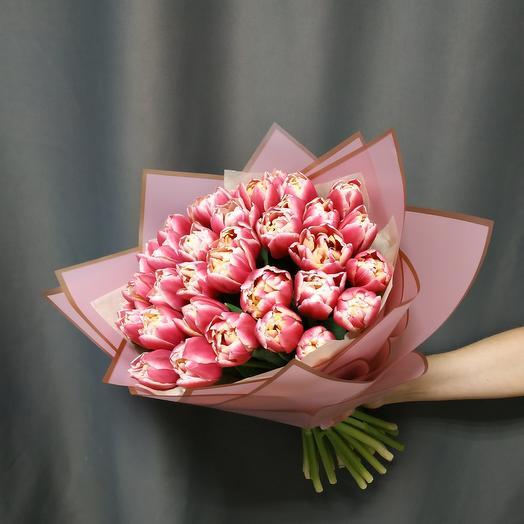 """Букет""""35 кремово-розовых тюльпанов"""""""