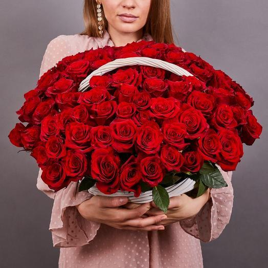 101 роза премиум в корзине
