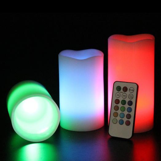 Светодиодные свечи с эффектом горения, 3 шт, 12 режимов, пульт, таймер