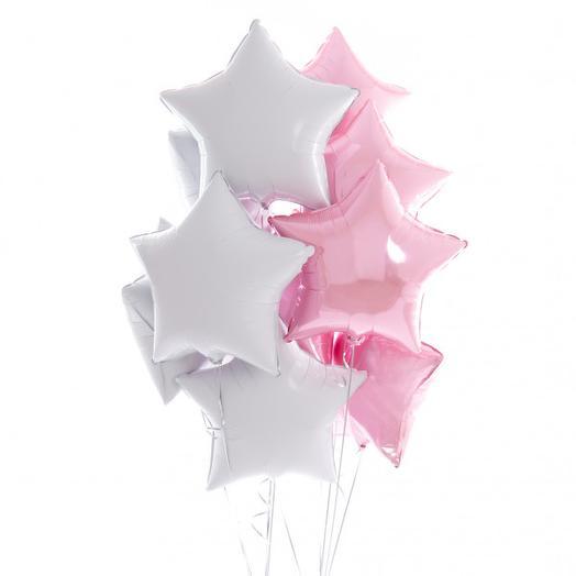Набор из бело-розовых звезд 10 шт