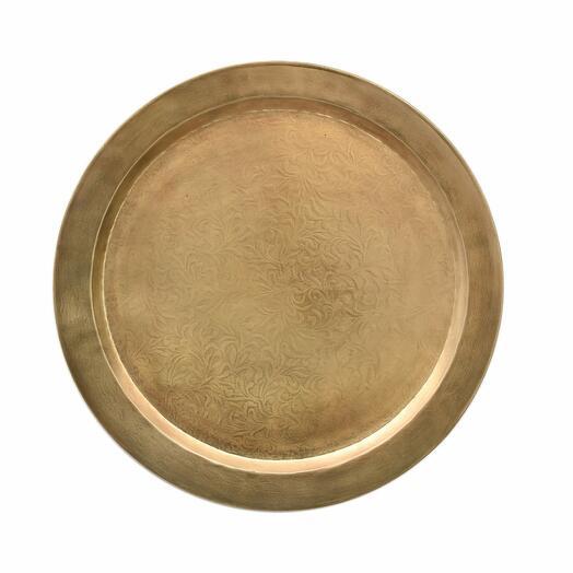 Металлическое настенное круглое блюдо с гравировкой (латунь), большое/маленькое (Размер-Большая)