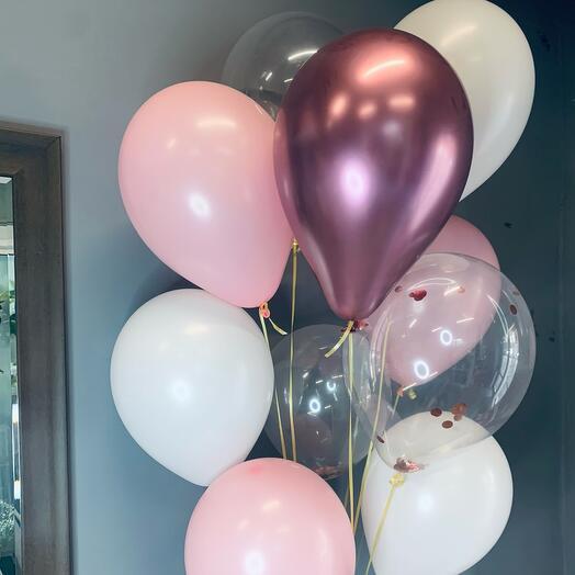 Розовые шары 11шт