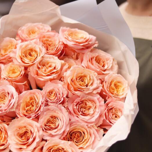 Монобукет из пионовидных роз Шиммер