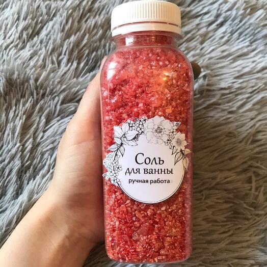 💫Мерцающая соль для ванны с ароматом клубники 400 гр