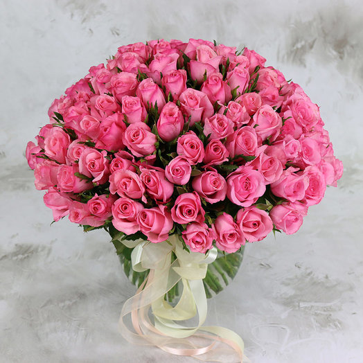 Букет из 101 розовой розы 40 см: букеты цветов на заказ Flowwow