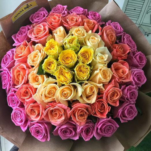 Радуга 51 роза: букеты цветов на заказ Flowwow