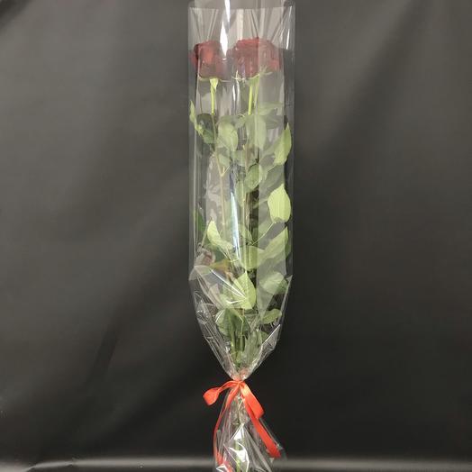 Три гигантские розы в упаковке: букеты цветов на заказ Flowwow