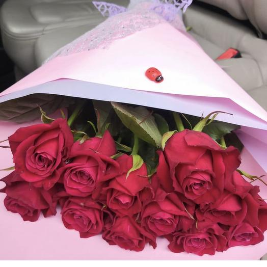 Букет из 11 роз сорта «Шангри Ла»: букеты цветов на заказ Flowwow