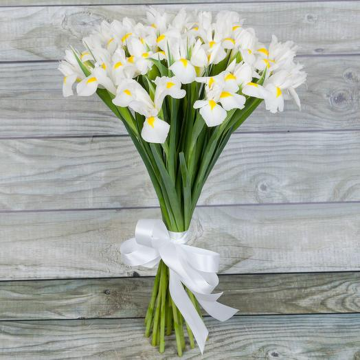 Букет из 25 белых ирисов: букеты цветов на заказ Flowwow