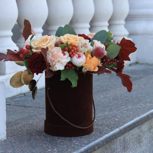 Бархатная Коробка с осенними цветами 🌾🍂: букеты цветов на заказ Flowwow