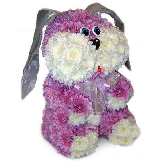 "Игрушка из живых цветов ""Заяц"": букеты цветов на заказ Flowwow"