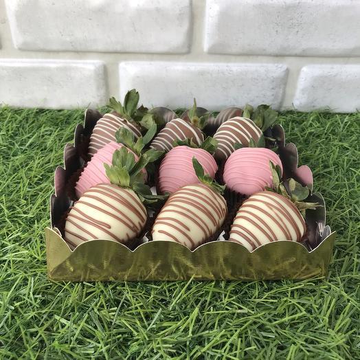 Набор «Клубника в шоколаде» подарочная коробочка на 9 шт: букеты цветов на заказ Flowwow