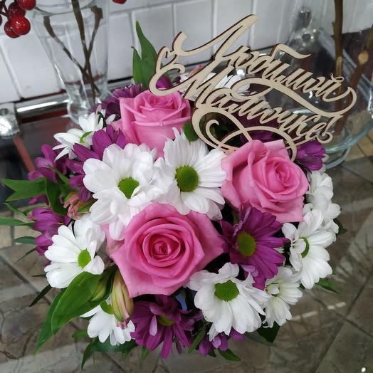 """Шляпная коробочка с розами """"Любимой мамочке"""": букеты цветов на заказ Flowwow"""