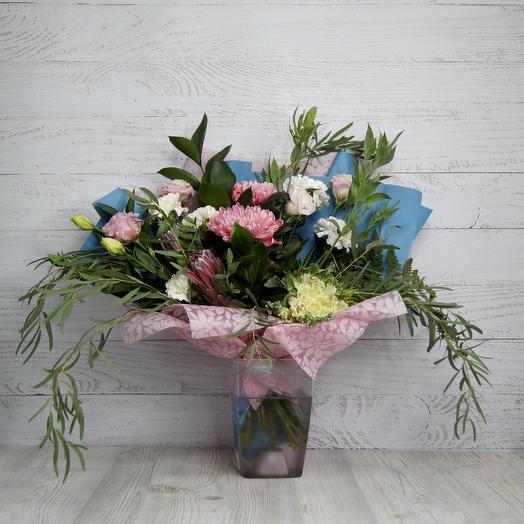 Роскошный букет с одноголовой хризантемой: букеты цветов на заказ Flowwow