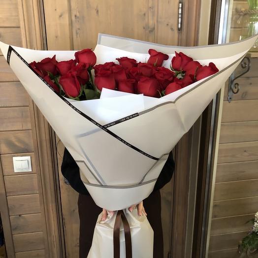 """Большой букет из роз """"Алые паруса"""""""