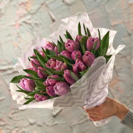 Нежный поцелуй (21 пионовидный тюльпан)
