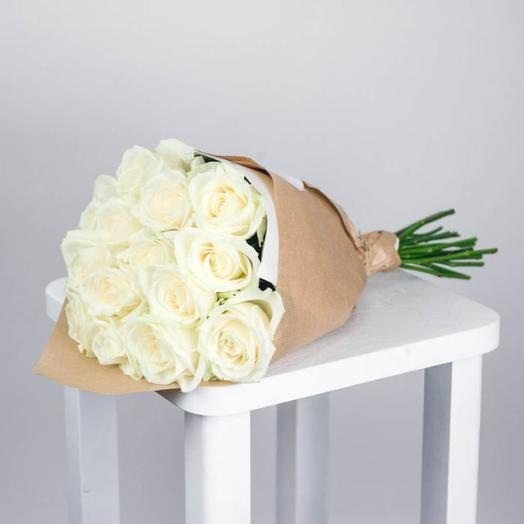 Роза Аваланж 50 см в крафте, 19 шт