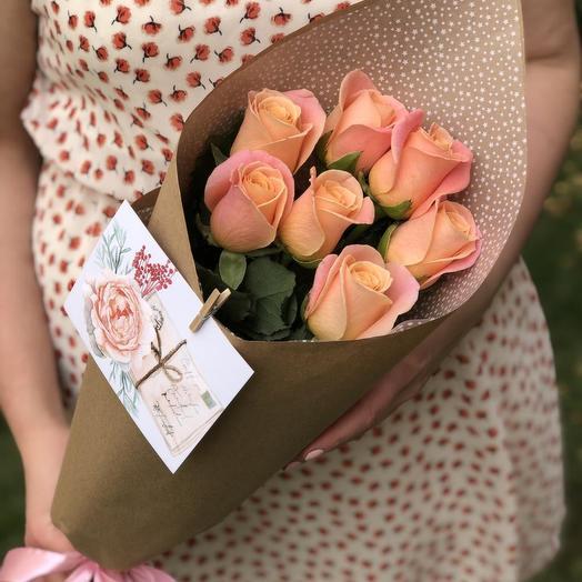 ✅ Букет 7 роз в крафте