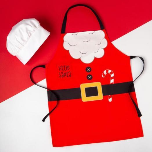 Набор фартук и шапка повара Этель Little santa 46*60 см, 100% хлопок