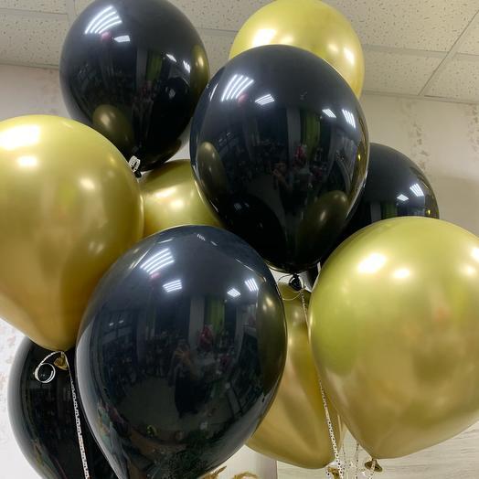 Воздушные шары хром чёрное золото