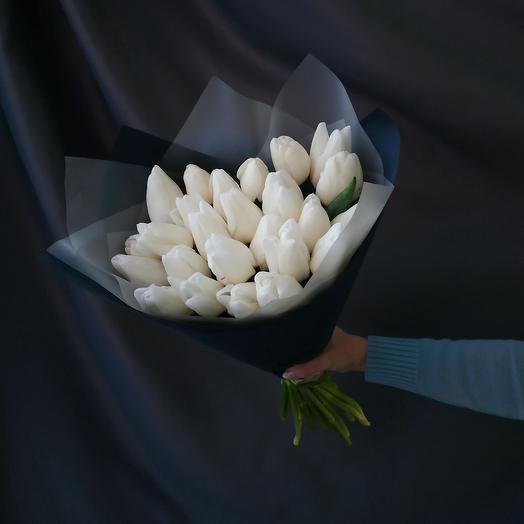 """Букет""""25 белых тюльпанов"""""""