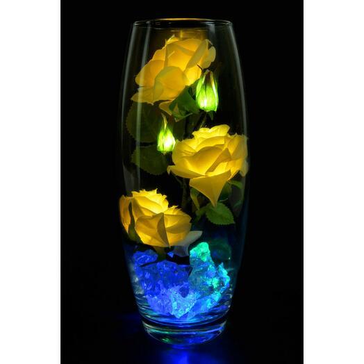 Светодиодные розы 5шт белые (син)