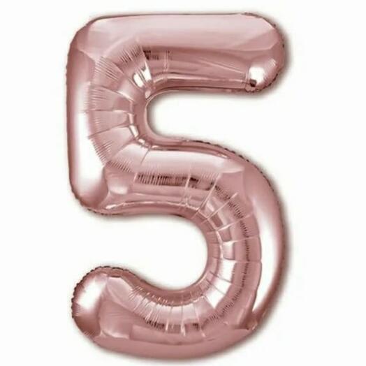 """Цифра фольгированная """"5"""" розовое золото"""