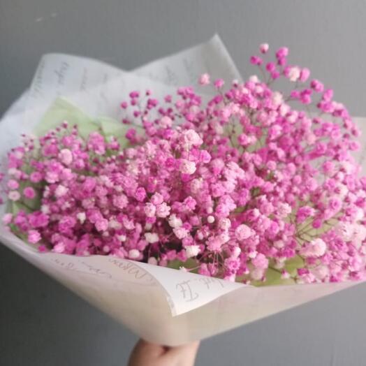 Букет-комплимент из розовой гипсофилы