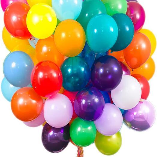 Микс 15 латексных шаров с гелием