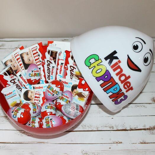 Огромный киндер сюрприз с Киндер шоколадками внутри
