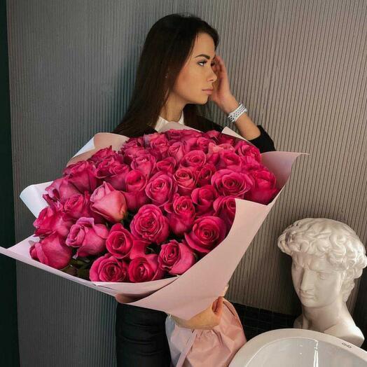 Моно букет из 51 розы Пинк Флойд V28