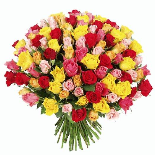 101 роза, 40 см микс: букеты цветов на заказ Flowwow