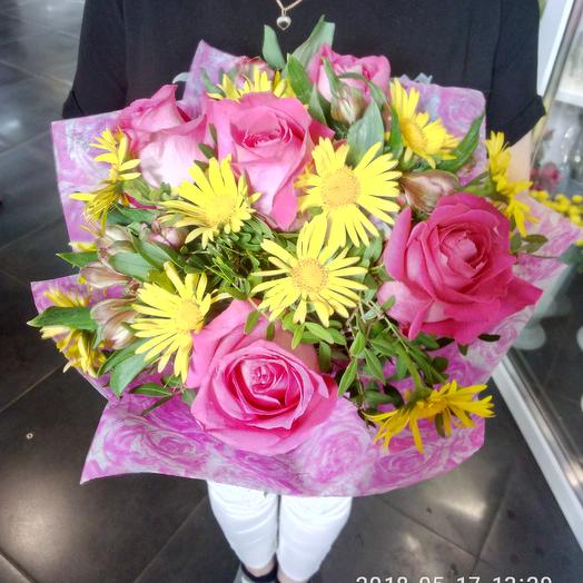 Букет ромашка роза: букеты цветов на заказ Flowwow