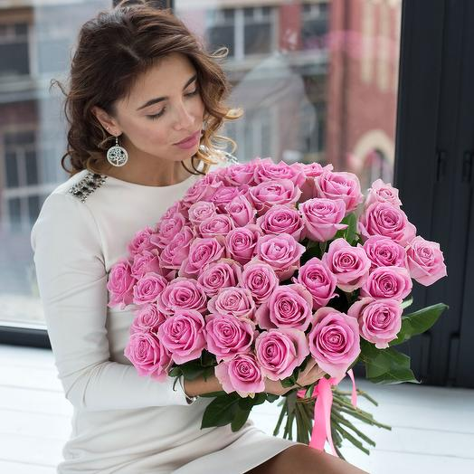 Букет из 35 розовых роз 60 см: букеты цветов на заказ Flowwow