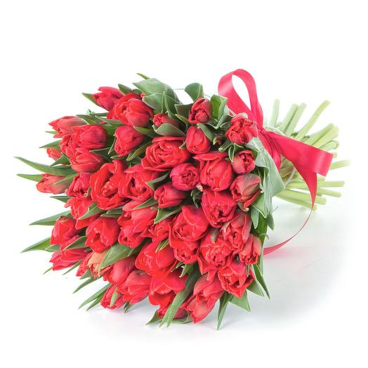 49 красных тюльпанов: букеты цветов на заказ Flowwow