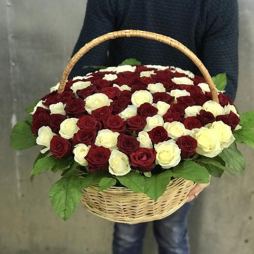 Корзина из 101 красно-белой розы: букеты цветов на заказ Flowwow