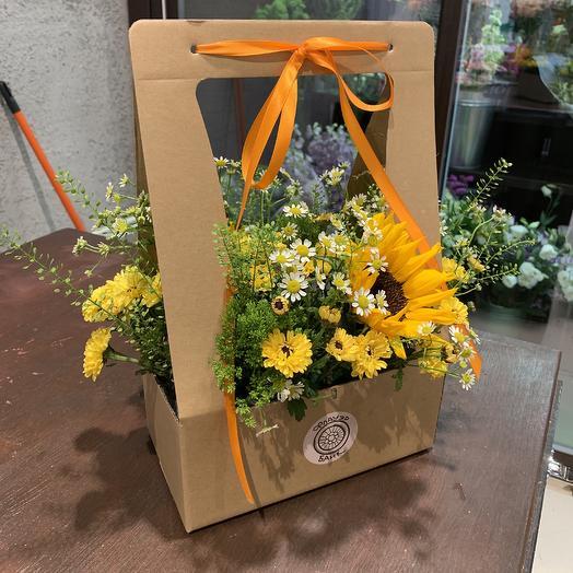 Композиция с подсолнухами: букеты цветов на заказ Flowwow
