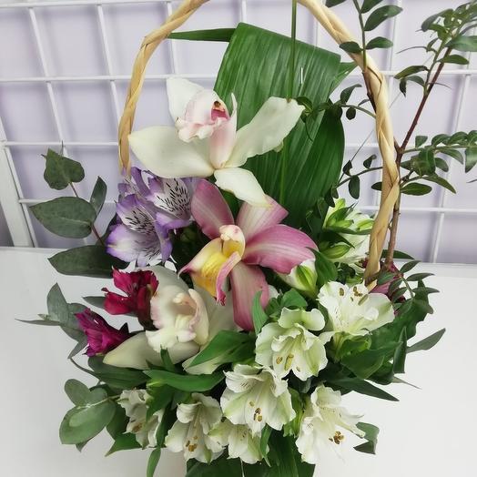 Корзинка с орхидеямт: букеты цветов на заказ Flowwow