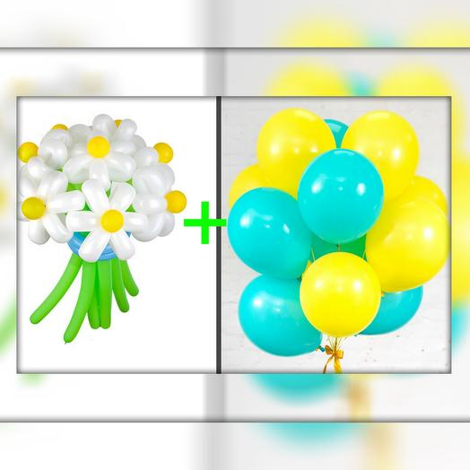 Букет ромашек + фонтан из 17 шаров