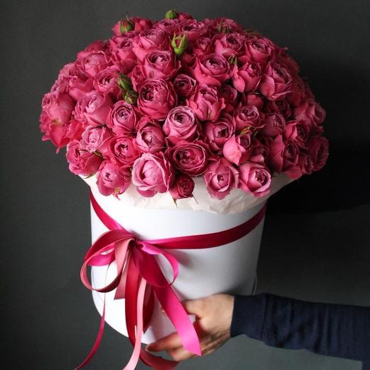 Розы Мисти Бабблз в большой шляпной коробке: букеты цветов на заказ Flowwow