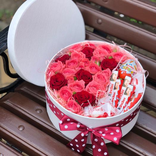 Box with roses and chocolates