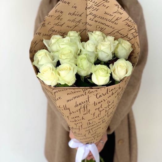 15 white roses (60cm)