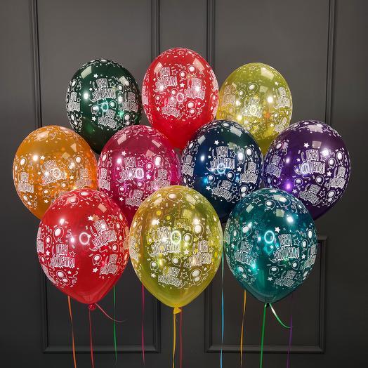 Воздушные разноцветные шарики кристалл С днем рождения! 10 шт
