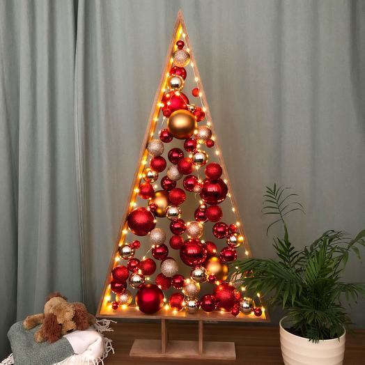 Новогодняя Ёлка 🎄 красный золотой темный дуб