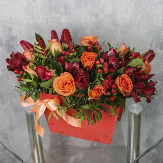 Ящик с цветами «Огненная любовь»