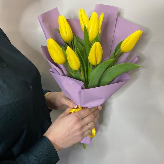 Монобукет из желтых тюльпанов