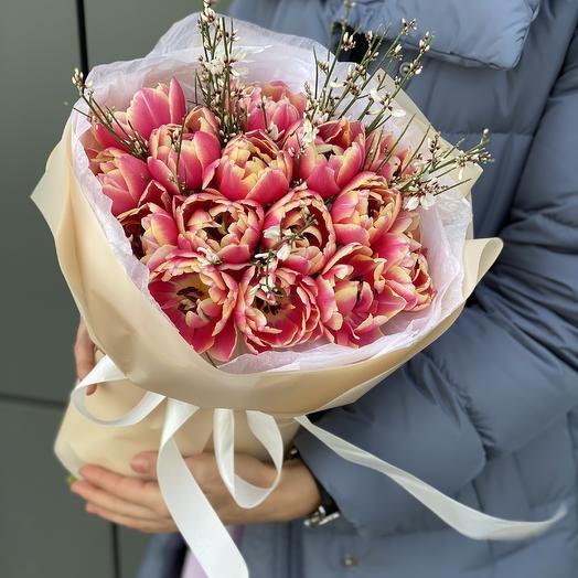 The Honeymoon bouquet of tulips and genista