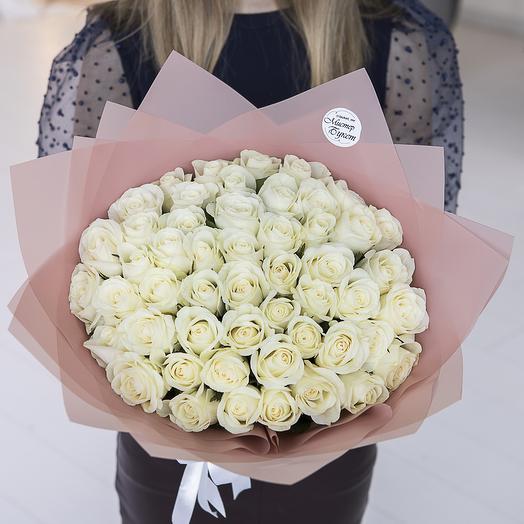 Букет из 51 белой розы (кения)